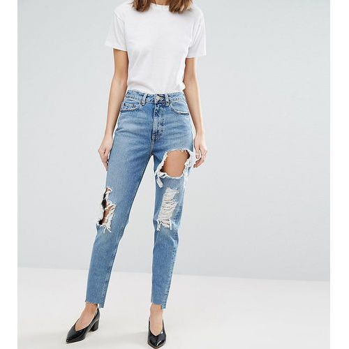 original mom jean in phoebe wash with rips & stepped hem - blue, Asos tall