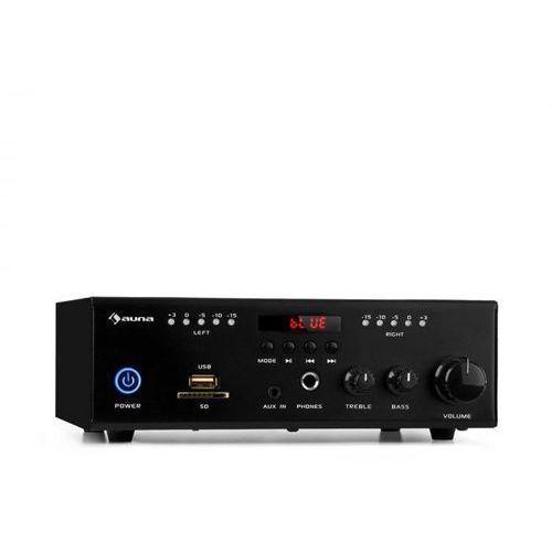Auna Amp4 BT SE, miniwzmacniacz stereo, Bluetooth, pilot zdalnego sterowania, czarny (4060656169304)