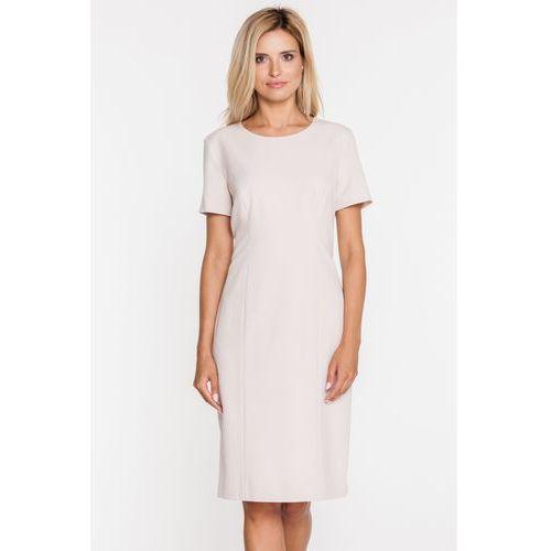 Beżowa, klasyczna sukienka do biura - Bialcon, 1 rozmiar