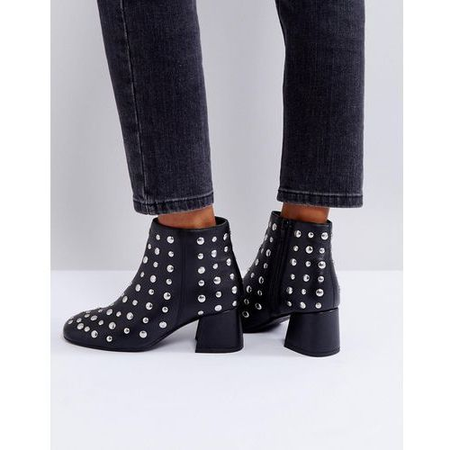 studded leather mid heel boot - black, Park lane