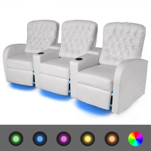 vidaXL Fotele kinowe 3 osobowe, biała, sztuczna skóra, z podświetleniem LED (8718475524991)