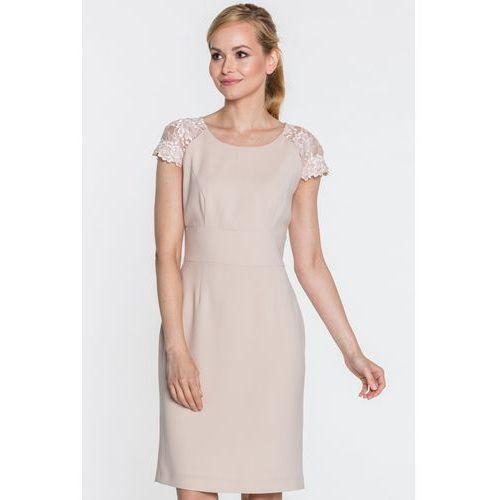 5fedcb360e Beżowa sukienka z koronkowymi rękawami - marki Studio mody francoise