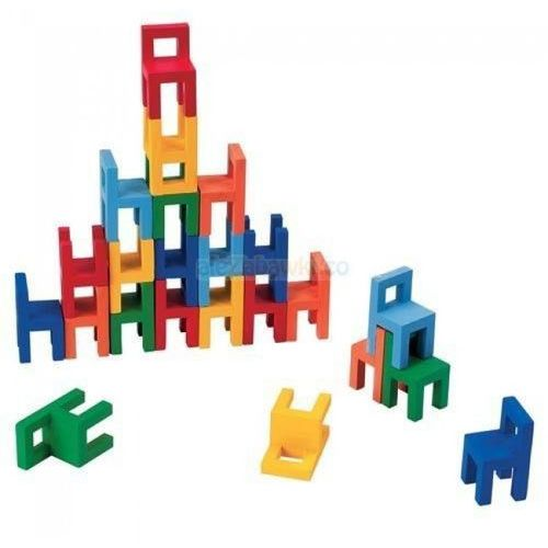 Balansująca wieża z krzesełek, drewniany zestaw do kreatywnej zabawy, Goki 56929