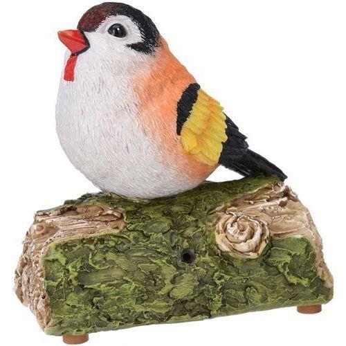 Ozdobny sztuczny ptaszek śpiewający na gałązce, zasilana bateriami figurka dekoracyjna z melodyjkami