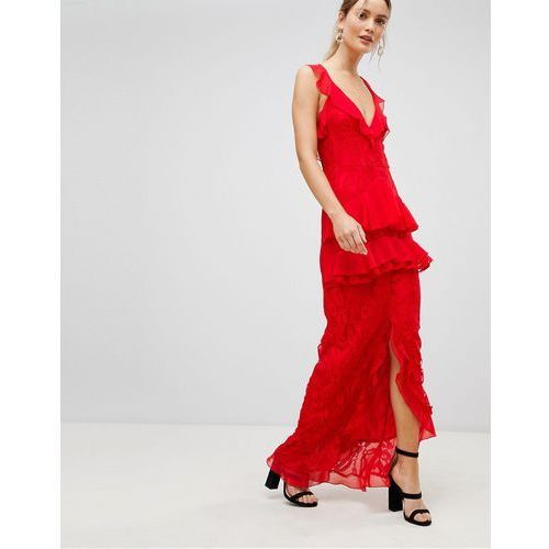Prettylittlething tiered lace maxi dress - red