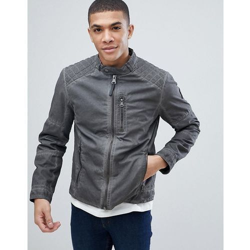 Tom Tailor Biker Jacket In Washed Cotton - Black