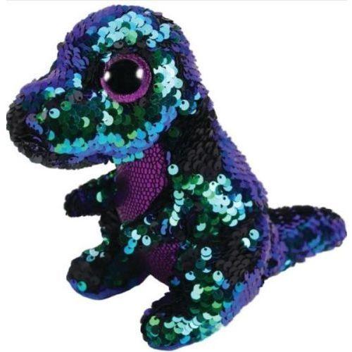 Maskotka TY INC Beanie Boos Flippables Crunch - zielono - fioletowy dinozaur z cekinami 28 cm