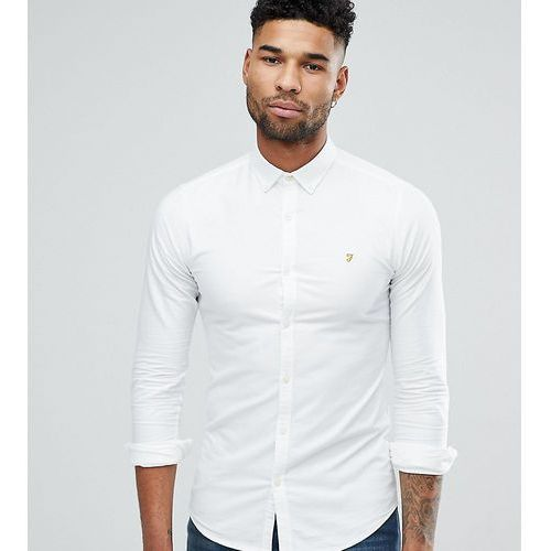 tall skinny fit button down oxford shirt in white - white, Farah