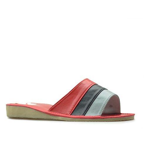 29a22ff67a95c OKAZJA - Pantofle klapki góralskie kapcie skórzane czerwone marki Wójciak  ...