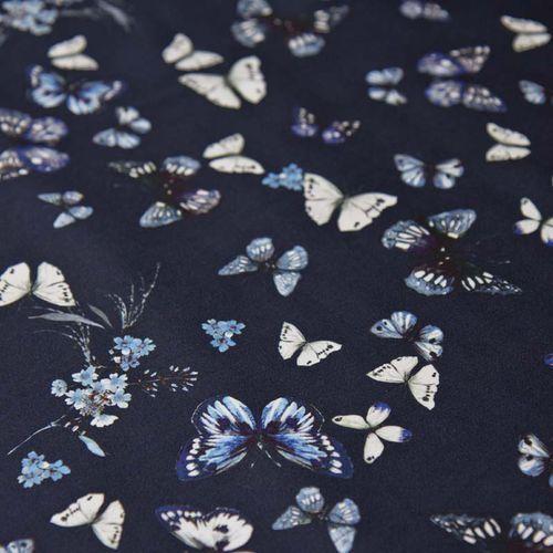 Włoska tkanina bawełniana satynowana - błękitne motyle na granacie
