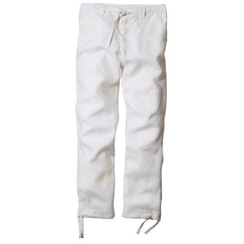 Spodnie lniane regular fit straight biały, Bonprix