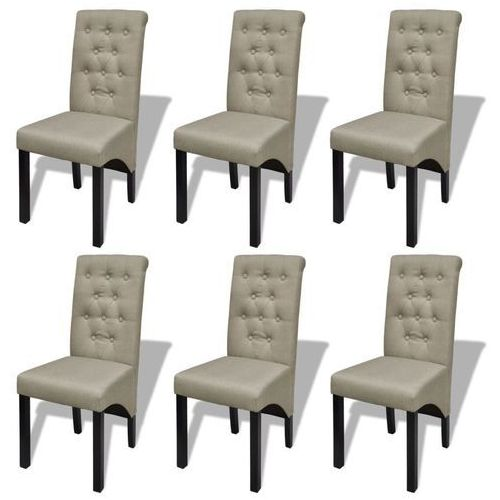 Krzesła do jadalni tapicerowane tkaniną, 6 szt., beżowe, kolor beżowy