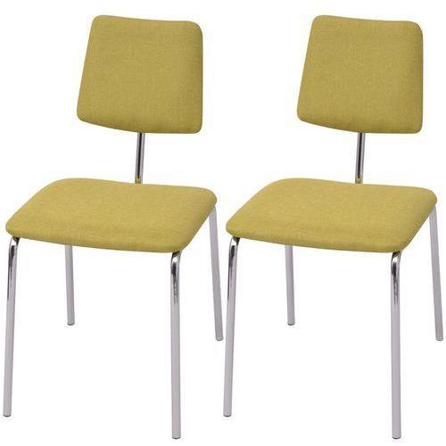 vidaXL Krzesła jadalniane materiałowe, zielone, 2 szt., kolor zielony