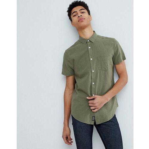 Threadbare Cotton Linen Short Sleeve Shirt - Green, bawełna