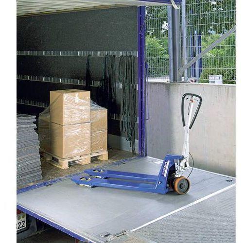 Eurokraft Paletowy wózek podnośny, rolki widłowe z nylonu, tandemowe, z hamulcem jezdnym i