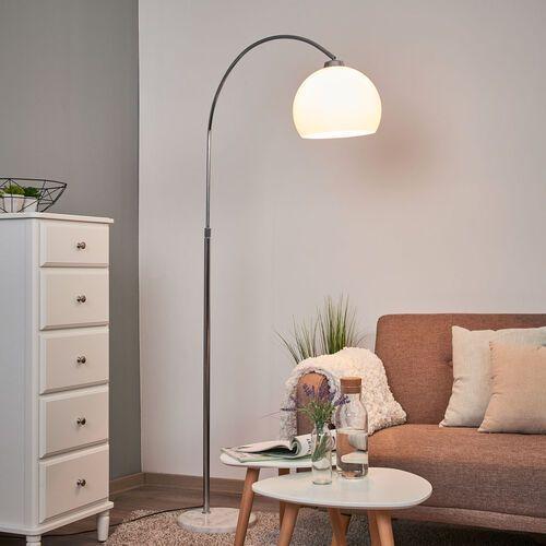 Lampa łukowa Sveri z marmurową stopą, biały klosz (4251096532265)