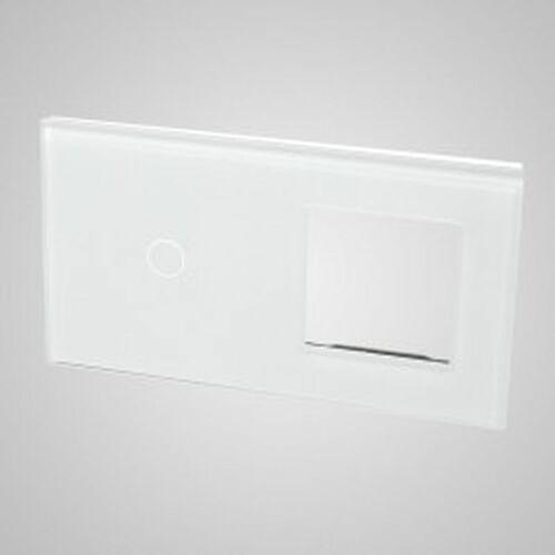 Els elektrotechnika sp. z o.o. sp. k. Touchme duży panel szklany, 1 x łącznik pojedynczy, 1 x ramka, biały tm701728w
