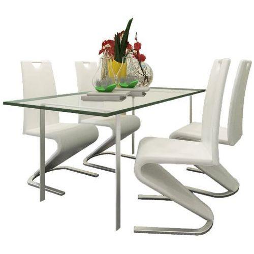 Krzesła wspornikowe do jadalni, 4 szt., sztuczna skóra, białe, kolor biały