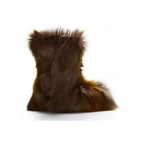 Buty Ocieplacze Loopi ze skóry owczej szary, kolor szary
