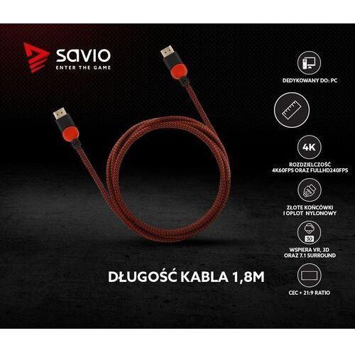 Kabel hdmi v2.0 gcl-01 1,8m, dedykowany do pc, gamingowy, ofc, 4k czerwono-czarny, złote końcówki marki Savio