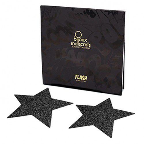 Naklejki na sutki - Bijoux Indiscrets Flash Star Black Czarna Gwiazda - produkt z kategorii- Nakładki na sutki