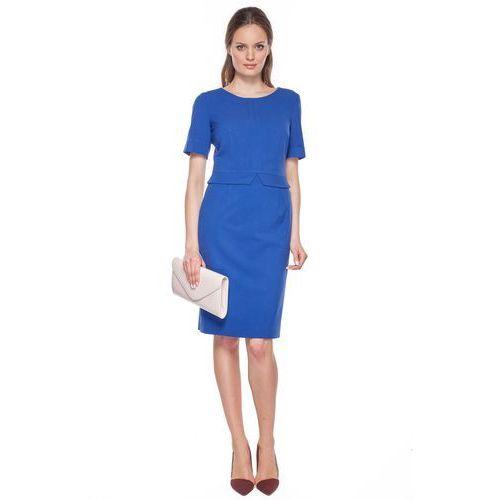 Granatowa sukienka z zakładkami - Metafora, 1 rozmiar