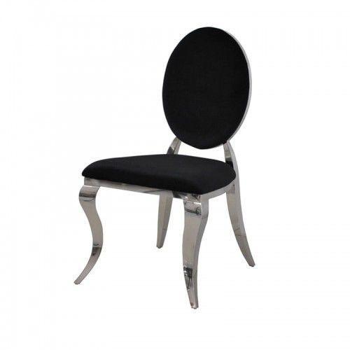 Bellacasa Krzesło ludwik ii glamour black - nowoczesne krzesło tapicerowane