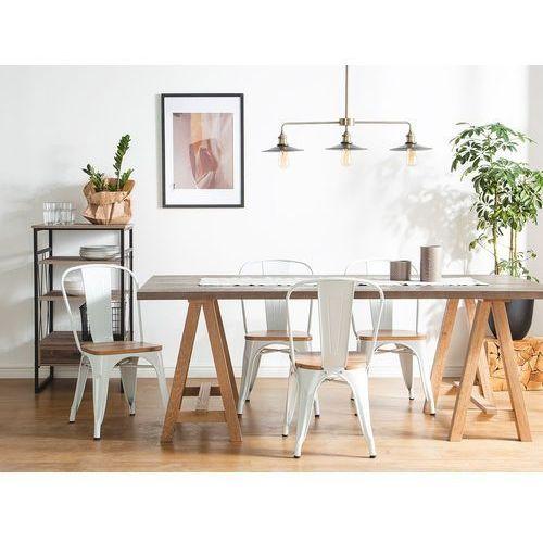 Zestaw do jadalni 2 krzesła biało-jasnobrązowe APOLLO