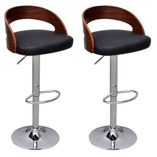 vidaXL Nowoczesne krzesła barowe x2 Z drewnianym oparciem Regulowana Wysokość (8718475925217)