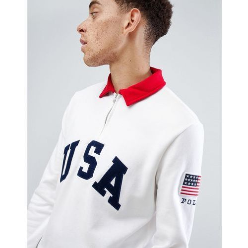 Polo ralph lauren cp-93 capsule half zip sweatshirt usa applique in white - white