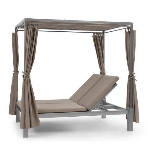Blumfeldt Eremitage Double Sunbed, łożko do opalania dla 2 osób, stalowe ramy zasłonki taupe