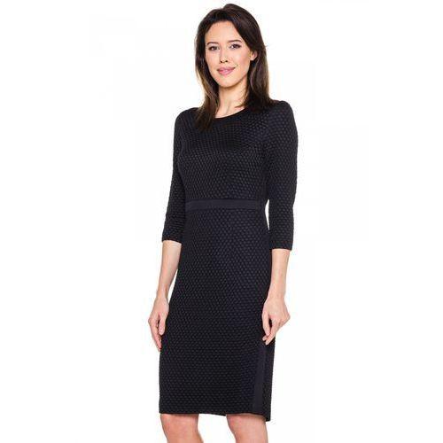 Antracytowa, tłoczona sukienka - marki Vito vergelis