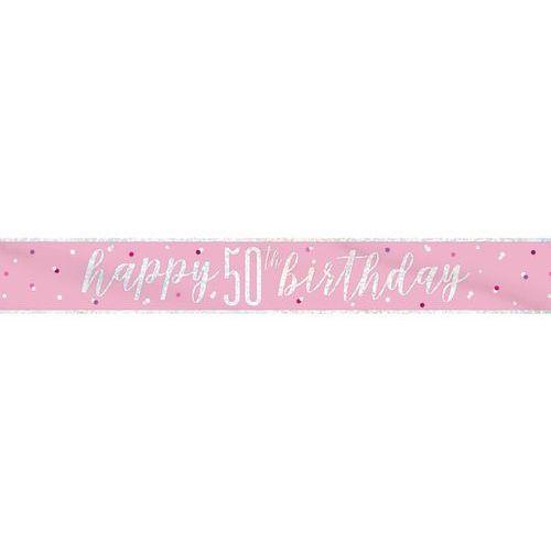 Baner happy birthday różowy na 50 urodziny - 274 cm - 1 szt. marki Unique