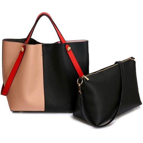 42d9280c14f02 Torebka damska shopper bag czarna pudrow.