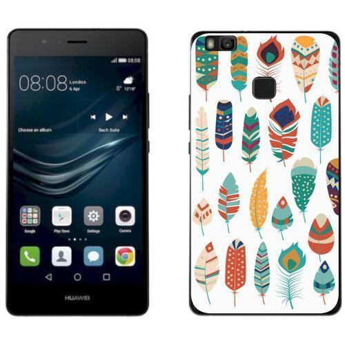 Huawei P9 Lite 2017 - etui na telefon - Kolekcja boho - zielone piórka - J26, kolor zielony