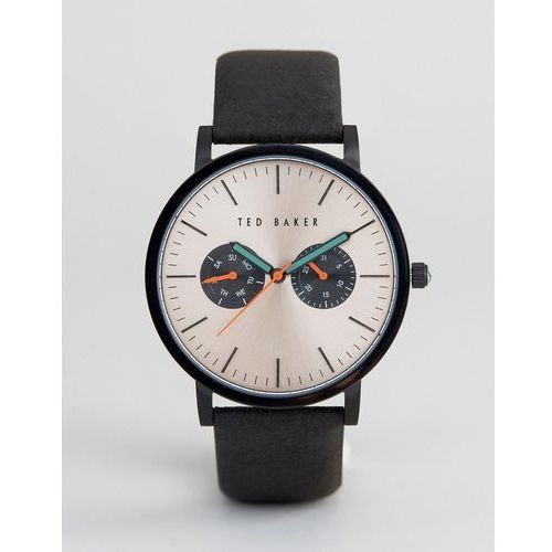 Ted baker  brit chronograph leather watch in black - black