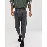 Bershka loose carrot fit trousers in dark grey with chain - Grey, szerokie