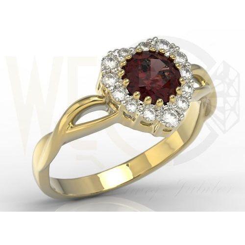 Węc - twój jubiler Pierścionek w kształcie serca z żółtego złota z granatem i diamentami ap-77z