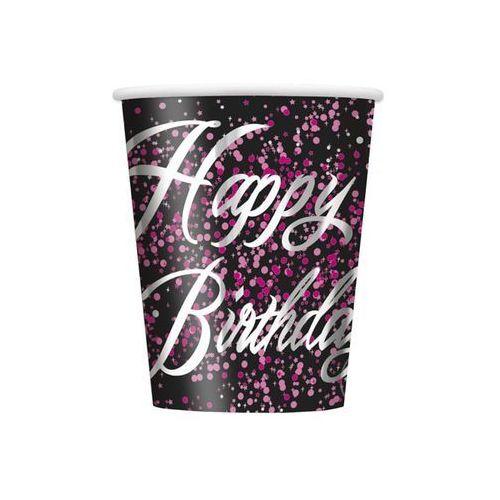 Kubeczki błyszczące Happy Birthday różowe - 266 ml - 8 szt.
