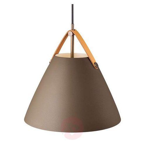 Nordlux Wisząca lampa skandynawska strap 84333009 dftp zwieszana oprawa metalowy zwis na skórzanym pasku beżowy