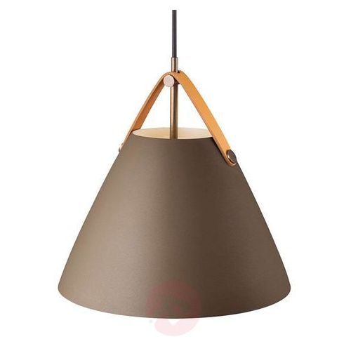 Nordlux Wisząca lampa skandynawska strap 84333009 dftp zwieszana oprawa metalowy zwis na skórzanym pasku beżowy (5701581485389)
