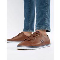 Fred Perry Kingston leather plimsolls in tan - Brown, kolor brązowy