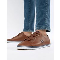 Fred perry kingston leather plimsolls in tan - brown