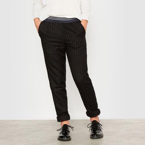 R pop Zwiewne spodnie w paski z materiału przypominającego wełnę 10-16 lat