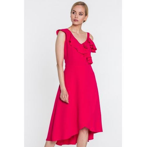 Malinowa sukienka z asymetryczną falbaną - SU