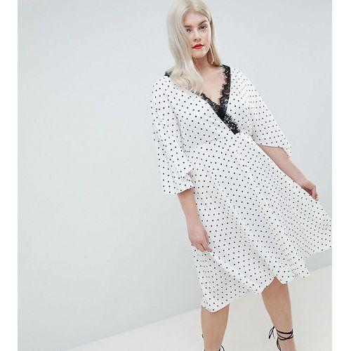 ASOS DESIGN Curve Exclusive Spot Lace Trim Kimono Midi Dress - White, kolor biały