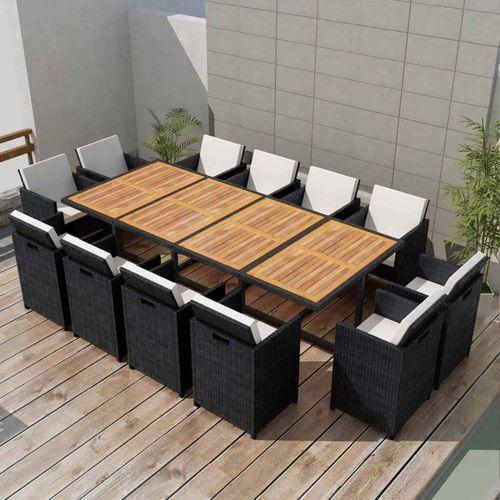 vidaXL Zestaw mebli ogrodowych, 37 części, akacja i czarny polirattan