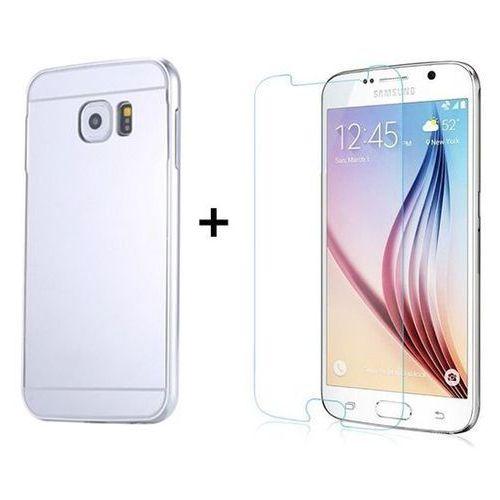 Zestaw   Mirror Bumper Metal Case Srebrny + Szkło ochronne Perfect Glass   Etui dla Samsung Galaxy S6, kolor szary