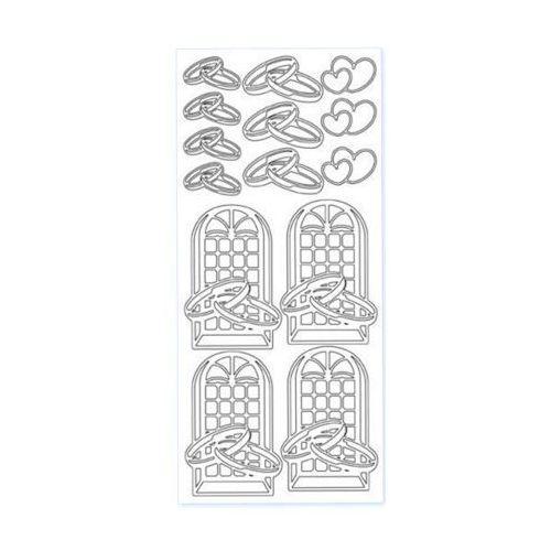 Sticker srebrny 11330 - obrączki, okna (R04) x1