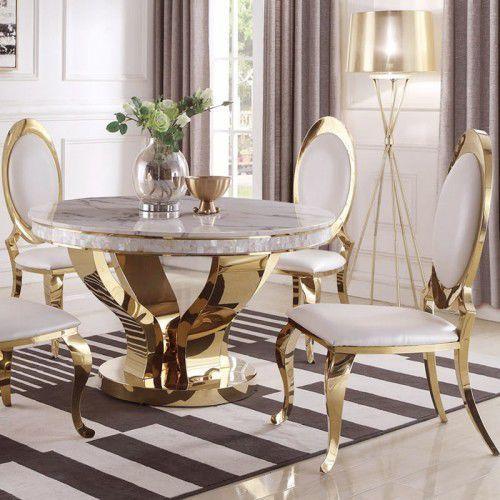 Złoty stół glamour Davson Gold okrągły - blat kamienny nowoczesny (5908273395654)